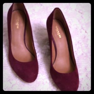 Coach suede burgundy wedge heels